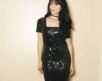 Black Sequin Dress Medium Vintage 80s Goth Sparkle Disco Square Neckline