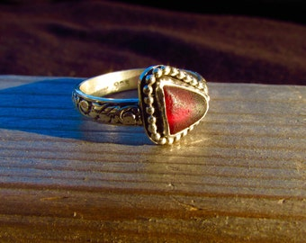 RARE Red Sea Glass Sterling Silver Ring
