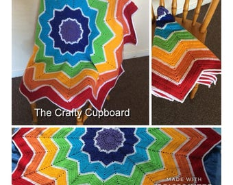 Rainbow Crochet Star blanket