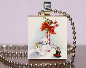 Vintage Snowman Scrabble Pendant Necklace Jewelry.  Holiday Snowman Charm. Christmas Necklace.  Snowman Charm.  Stocking Stuffer Gift.  #145