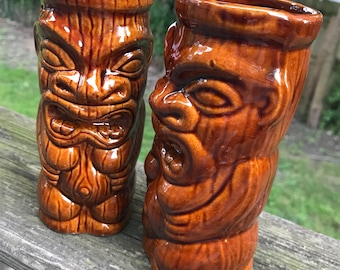 Two Vintage Ceramic Orchids of Taiwan Tiki Tumblers