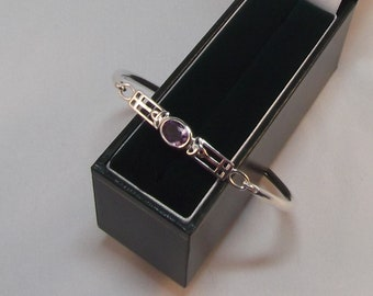 Very Pretty Silver and Amethyst Bangle with Triquetra Design