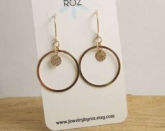 Earrings with 14k Gold-Filled Hoops and Hammered Discs on 14k Gold-Filled Earring Wires GCHE-11