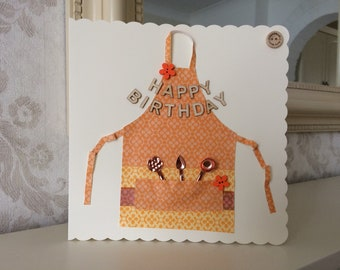 Happy Birthday Card with Apron and Utensils