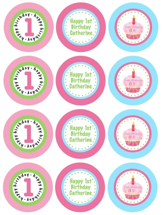 Printable First Birthday Girl Pink Cupcake and Green Polka