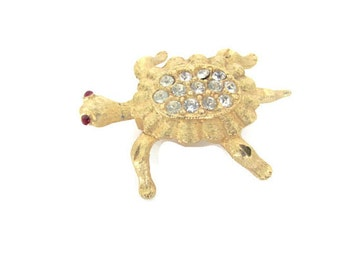 Vintage Turtle Brooch, Pin, 1960's Mamselle Gold Turtle Brooch, Pin, Animal Brooch, 1960's Brooch, Jewelry