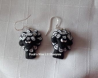 Sheep Earrings, Sheep Dangly Earrings, by Pook Designz, Sheep Lovers, Gifts for Knitters and Crocheters