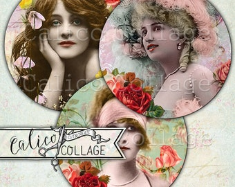 2.5 Inch Circles, Beauty in Roses, Pocket Mirror Images, Artist Trading Coins, Ephemera, Vintage Ladies, Decoupage Paper, Scrapbooking