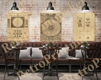 A synopsis of the universe or the visible world.  Set of 3 prints in varies sizes.  Vintage Style old wall reproduction map print.