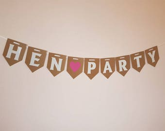 HEN PARTY Bunting, Hen Weekend Banner, Wedding Decorations, Bridal Shower, Rustic Hanging Garland Bride to Be