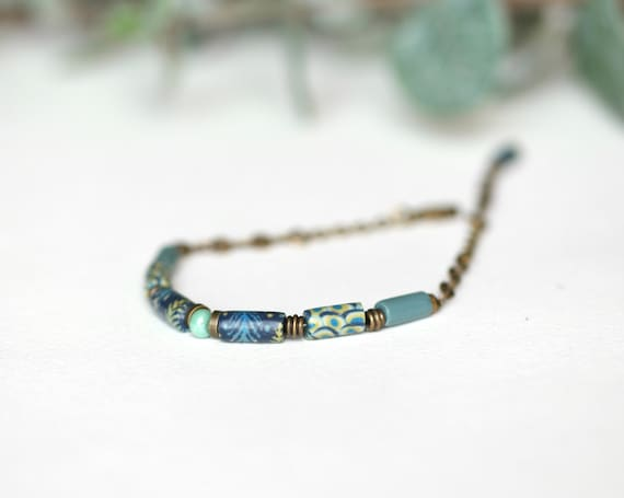 Boho bracelet, brass bracelet, long blue and green beads, handmade patterns, polymer clay bracelet 'Ixia'