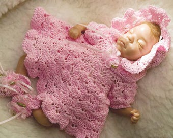 Cheryls Crochet D3 Doll 8 to 10 inch Shell Dress, Bonnet & Booties PDF Download Crochet Pattern