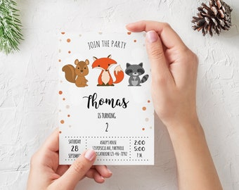 Woodland Birthday Invitation, Printable Birthday Party Invitation, Custom, Neutral, Fox, Fall, Autumn, Download, Digital Print