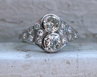 RESERVED - Gorgeous Art Deco Vintage Platinum Diamond Twin Stone/ Toi et Moi Ring - 1.52ct.