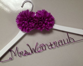 White hanger, Personalized Wedding Hanger, bridesmaid gifts, name hanger, bride hanger, gift,bride hanger for wedding dress,mother hanger
