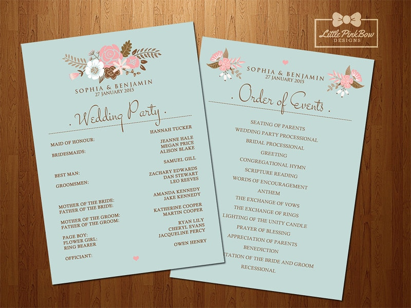 mint floral wedding program printable wedding party names