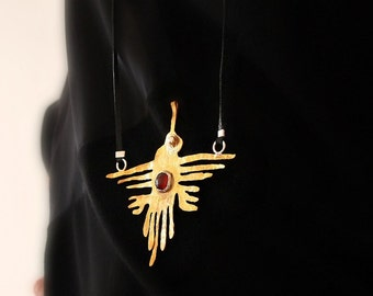 Long Large Necklace, Humming Bird Pendant, Hummingbird, Gold Plated Bronze, Mixed Metalwork Art Jewelry, Statement