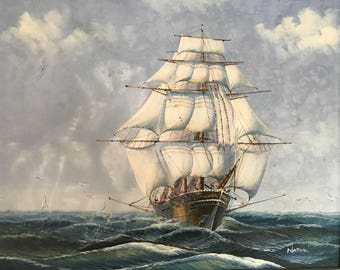 "Ship Oil Painting by Nathan, 20"" x 24"""