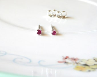 2mm ruby tiny earrings, simple sterling silver studs, lab ruby gemstone earrings, July birthstone, ruby birthstone earrings