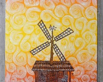 Windmill - Woodcut Print, Woodblock Print by Tugboat Printshop