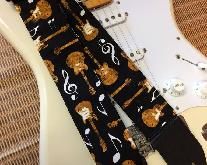 Music guitar strap // guitars and musical symbols on black guitar strap // unique retirement gift // anniversary gift // teenager gift