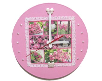 Pink Wall Clock Roses flower wall clock unique wall clocks roses clock decorative wall clock pink flower wall decor gift modern wall clock