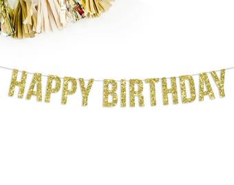 Happy Birthday Banner | happy birthday party decorations pink gold silver black birthday decor birthday sign