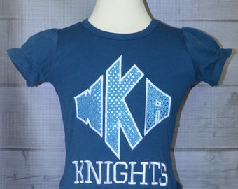 Personalized Monogram Football Knights Applique Shirt or Bodysuit
