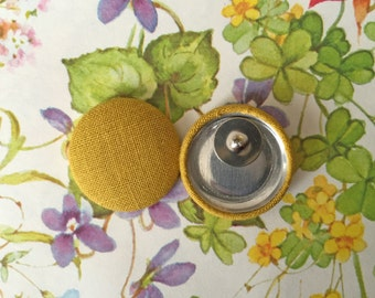 Fabric Covered Button Earrings / Chartreuse Yellow / Wholesale Jewelry / Handmade Gifts / Small Stud Earrings / Solid Color / Bulk Lot
