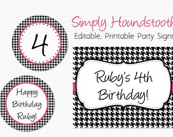 Party Signs Welcome Sign Houndstooth Birthday Party Decoration Bridal Shower Wedding Decor Graduation - Editable Printable Instant  sc 1 st  Etsy & Houndstooth party | Etsy