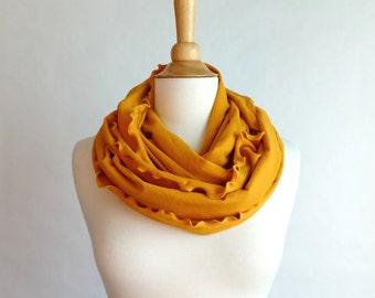 Infinity bufanda mostaza amarilla, bufanda de jersey de algodón, bufanda del tubo, anillo círculo bufanda, bufanda de la chimenea, volantes bufanda, regalo de vacaciones - listo para enviar