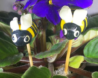 Plant Sticks, Bee Decor, Plant Decor, Home Decor, Indoor Gardening, Bee Plant Stakes, Gardener Gift