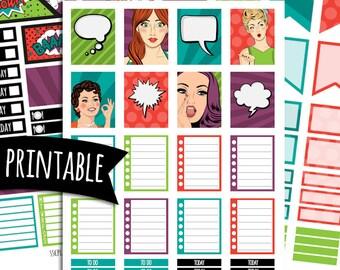 Pop Art Girl PRINTABLE Planner Stickers for Erin Condren Vertical | Sticker Printables | Happy Planner Stickers | Comic Book Stickers