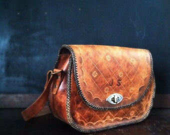Vintage 1970s Hand Tooled Leather Handbag - JS Monogram
