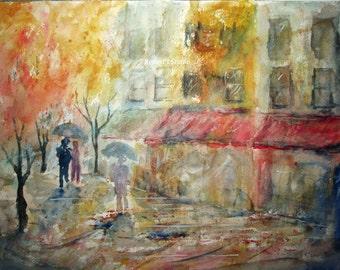 A Rainy Day, Art Print of Watercolor Landscape Painting, cityscape, street scene art, city street painting, rainy day walk, watercolor art