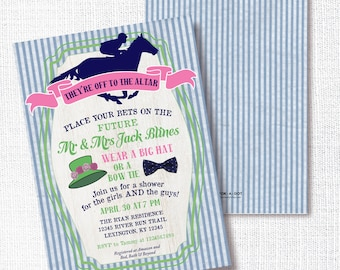 Kentucky Derby Preppy Bridal Shower Invitation, Printable, Horse Race Invite, Couples, Hat, Bow Tie, Wedding, Navy, Pink, Green, Southerm