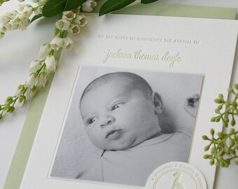 Baby Photo Birth Announcements Letterpress