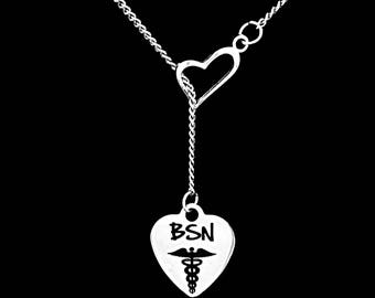 Gift For Nurse, BSN Necklace, Christmas Gift Nurse RN Graduation Gift, Heart Y Lariat Necklace
