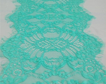 """Mint Lace Table runner, 11"""" , mint green  table runners,  wedding  table runners, lace table runner,   R15040802"""