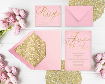 Pink and Gold Wedding Invitations with Gold Doilies and RSVP Cards / PRINTED Pink & Gold Wedding Invitation with Gold Doily Envelope Liner