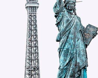 Statue of Liberty and Eiffel Tower, Île aux Cygnes, Paris Photography, Pont de Grenelle, Paris Wall Art