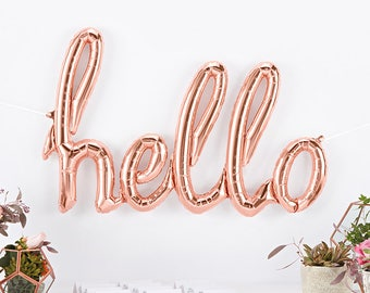 Hello Rose Gold Script Balloon. Hello Rose Gold Mylar Word Balloon for Bridal, Wedding or Baby Shower.  Rose Gold Party Decoration or Decor.