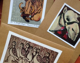 Set of any 3 Greeting Cards, reproductions of art by Barbara Ferneckes Hughes