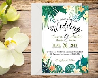 Printed Tropical Wedding Invitation, Destination Wedding, Beach Wedding, Tropical Wedding, Printed Invitation, Wedding invitation