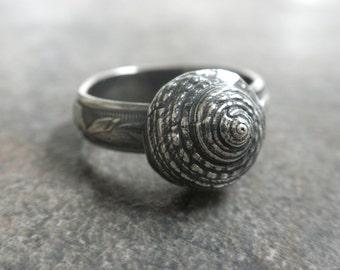 Seashell Ring Bohemian Jewelry Silver Snail Shell Organic Sea Life