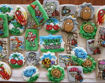 Plants vs zombies inspired cookie set