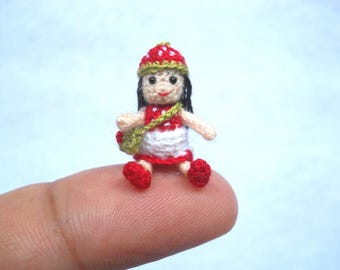 1 Inch Strawberry Girl Doll - Miniature Crochet Micro Stuffed Doll - Made To Order