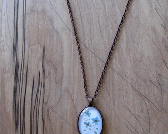 Blue Flowers - mini print necklace oval pendant and chain