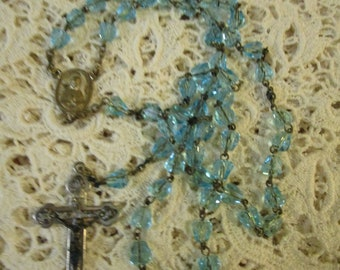 Glass Rosary, Blue Rosary, Vintage Rosary, Vintage Rosaries, Prayer Beads, Crucifix, Catholic Rosaries, First Communion, Rosaries, Rosary