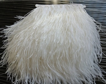 White Ostrich feather fringe trim 5-6inch wide 10 yards for sewing